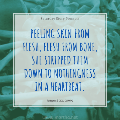 Saturday Story Prompts image for 2009-08-22. Peeling skin from flesh, flesh from bone, she stripped them down to nothingness in a heartbeat. written by Martha Bechtel