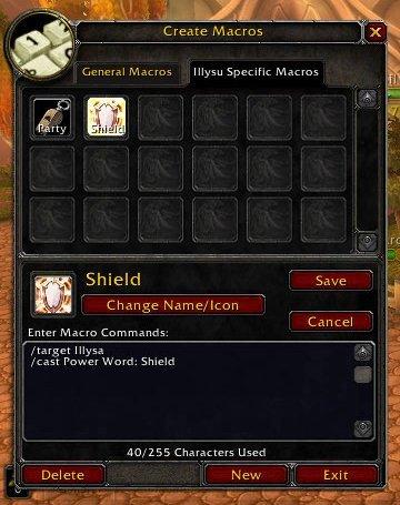 Create Macros - Sheild - Illysu Illysa - World of Warcraft