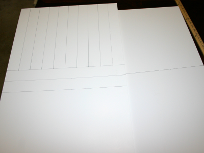 Homemade Lightbox - marking lines for the cuts