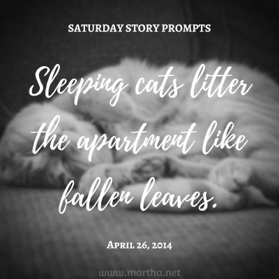 Sleeping cats litter the apartment like fallen leaves. Saturday Story Prompt. April 26, 2014