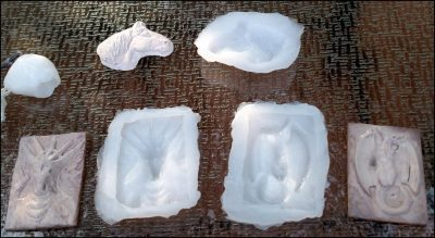 Silicone Caulk Molds of Sculpey Sculptures