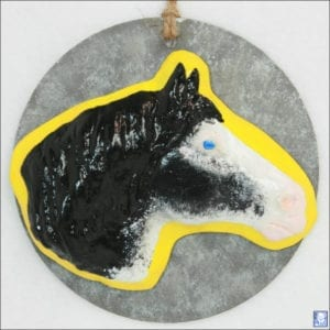 Clydesdale Horse Head 005 - Black Sabino - Hanging