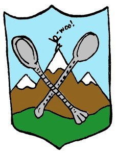 Mountains and Teaspoons Heraldic Shield 227 x 300