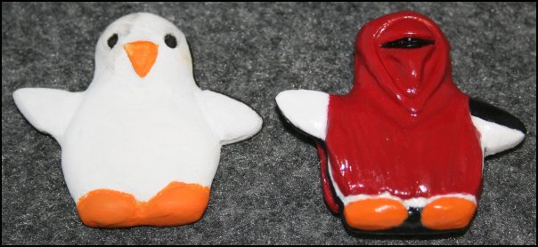 Badly-painted penguin awaiting cosplay & Penguin in cosplay