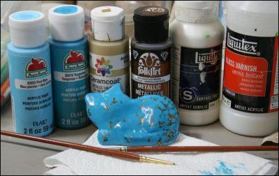 How to Paint Faux Turquoise Battle Mountain Blue Gem Acrylics