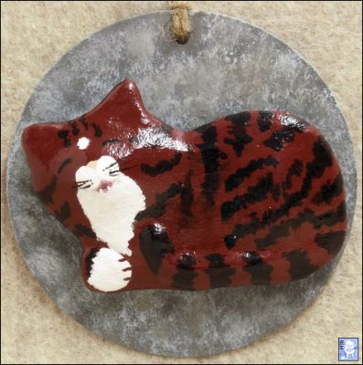 #002 - Red Tabby Kittenloaf Sleeping Cat - Handmade Plaster Magnet - Front