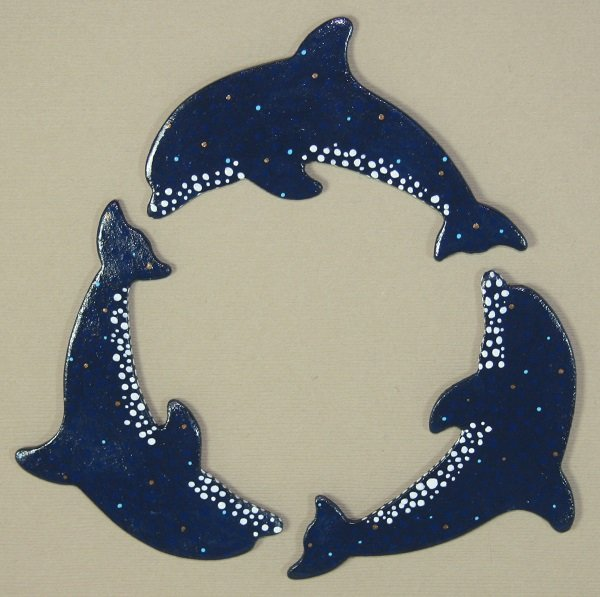 Wooden Dolphin Magnet - Dark Blue Spotted - #015-017