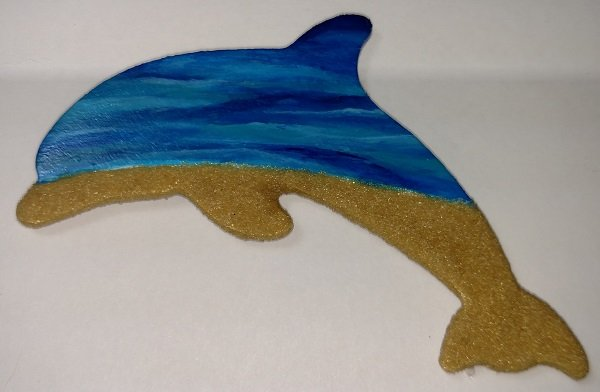 Wooden Dolphin Magnet - Sand and Waves - #021
