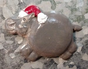 Hippo with a Santa Hat