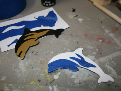 Wooden Dolphin Magnets 001 002 - Black and Gold Dusty Dolphin - Martha Bechtel - wip