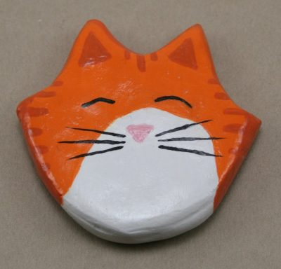 001 Orange and White Tabby Flat Cat Head Magnet - Front