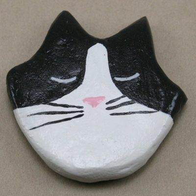 Black Tuxedo Flat Cat Head - Front