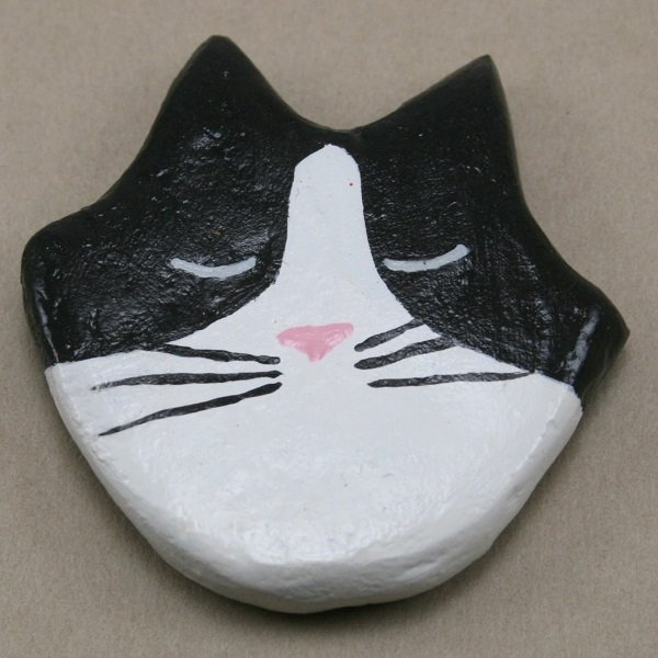 Black Tuxedo Flat Cat Head - Front