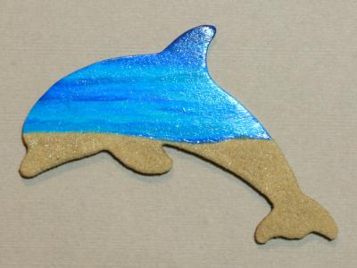 Wooden Dolphin Magnet 006 - Beach - Martha Bechtel - Front Dark