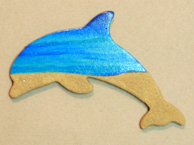 Wooden Dolphin Magnet 006 - Beach - Martha Bechtel - Front Shiny