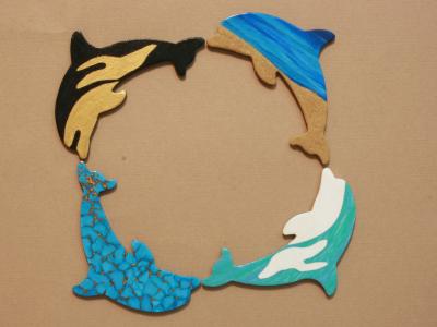 Wooden Dolphin Magnets 1 2 5 6 - Martha Bechtel - Circle