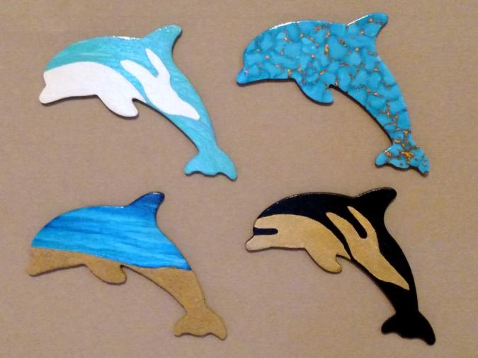 Wooden Dolphin Magnets 1 2 5 6 - Martha Bechtel - Four Pack