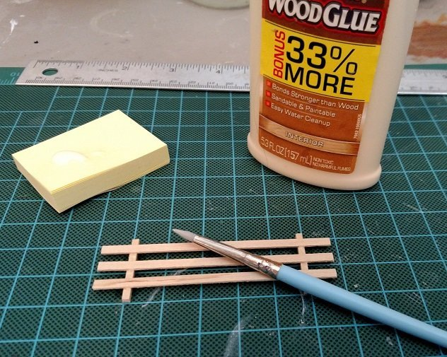 Assembling the Micro Mini Scale Model Horse Fence with Wood Glue