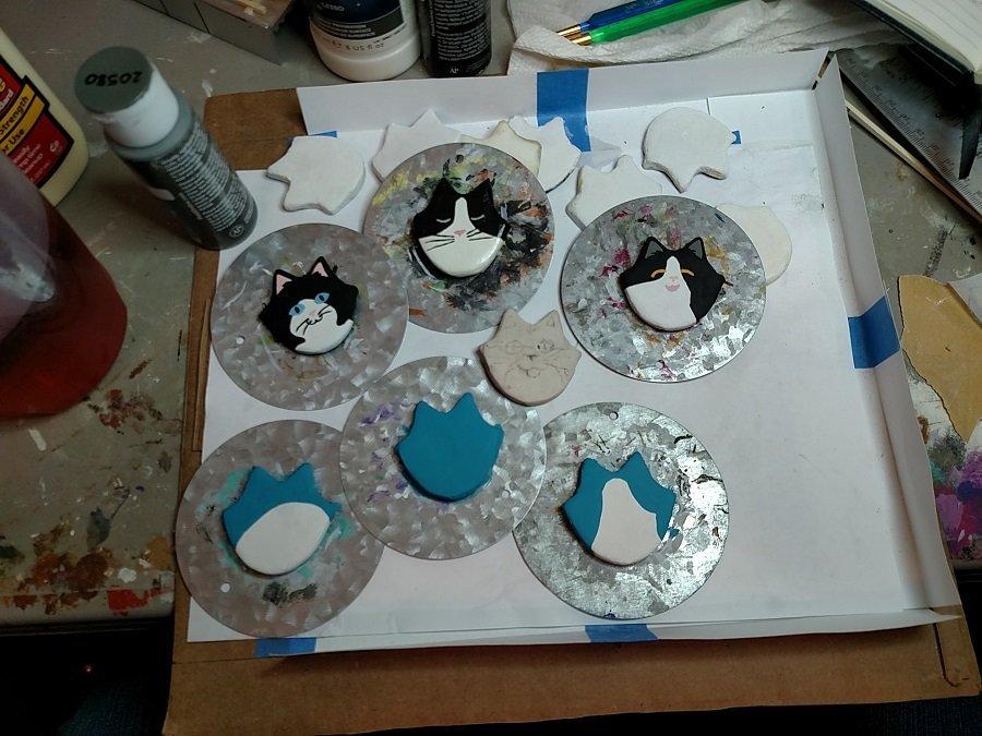 Flat Cat Head Plaster Magnet Sets- Works in Progress