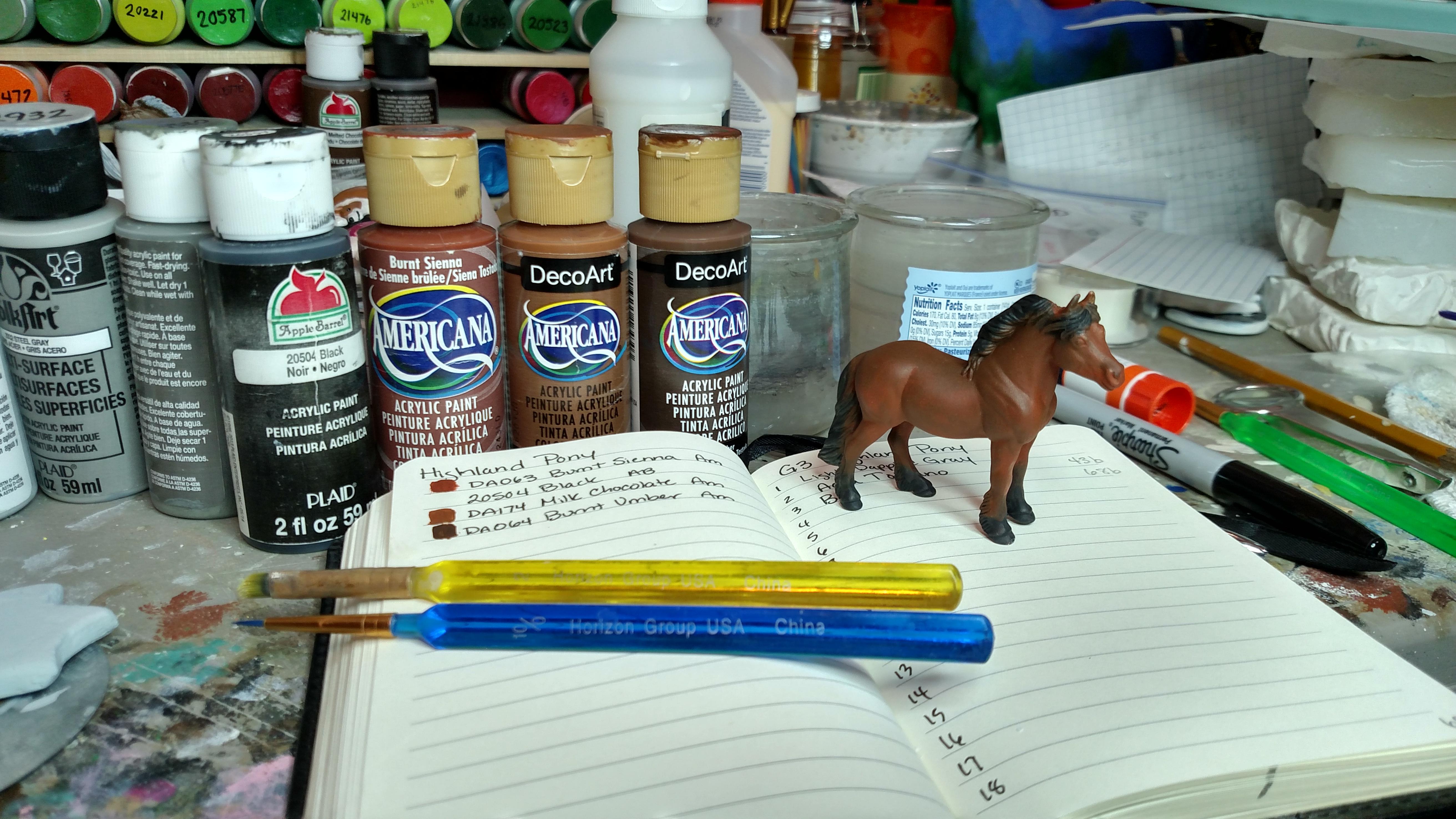 In progress Breyer Stablemate Highland Pony custom to bay