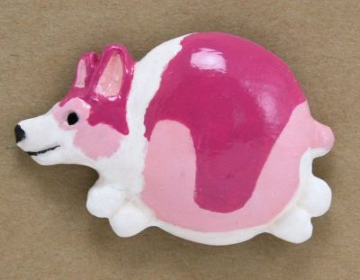 Fat Corgi Resin Magnet - 006 Magenta and Pink Tricolor - Front