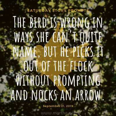 The bird is wrong in ways she can't quite name, but he picks it out of the flock without prompting and nocks an arrow. Saturday Story Prompt. September 21, 2019