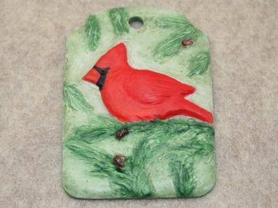 Cardinal Christmas Ornament 001 - Martha Bechtel - Front Tan