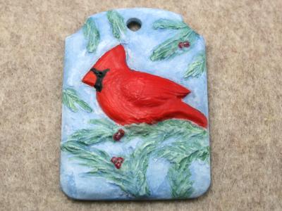 Cardinal Christmas Ornament 002 - Martha Bechtel - Front Dark