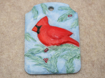 Cardinal Christmas Ornament 002 - Martha Bechtel - Front Light