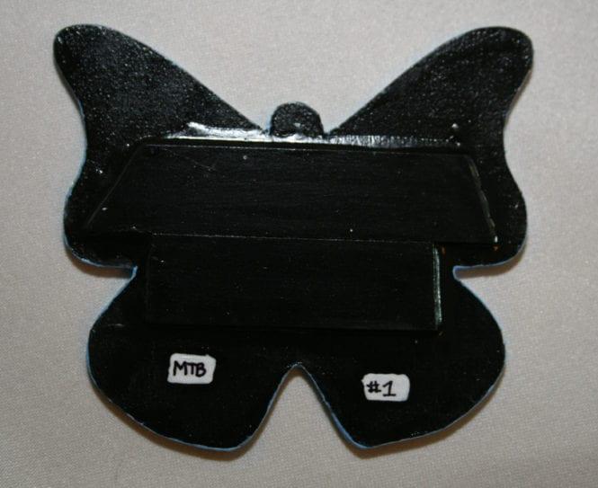 Wooden Butterfly Magnet 001 - Blue Yellow Gold Silver - Back - Martha Bechtel