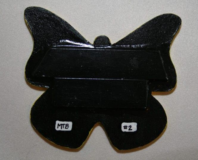 Wooden Butterfly Magnet 002 - Yellow Rainbow - Back - Martha Bechtel