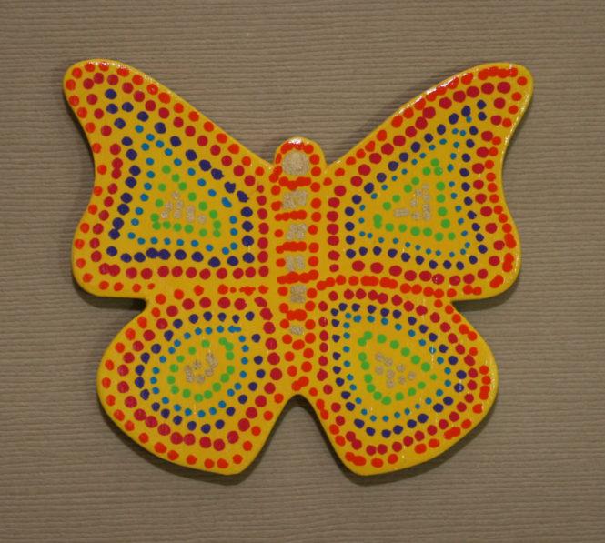 Wooden Butterfly Magnet 002 - Yellow Rainbow - Front - Martha Bechtel