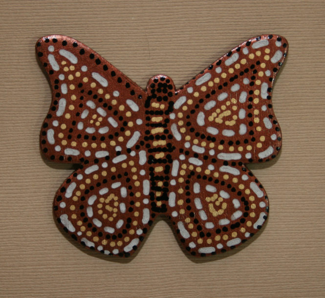 Wooden Butterfly Magnet 003 - Copper Gold Silver - Front - Martha Bechtel
