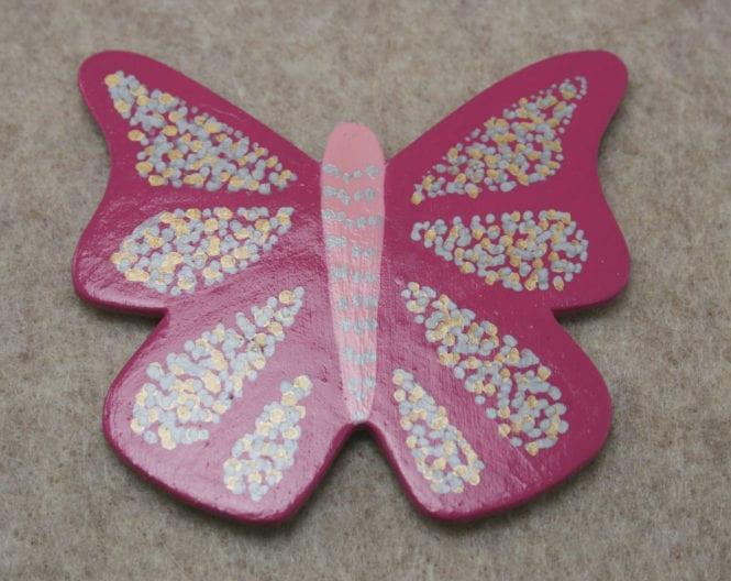 Wooden Butterfly Magnet 004 - Pink Gold Silver - Front - Martha Bechtel