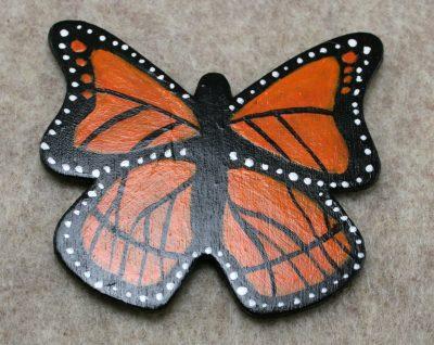 Wooden Butterfly Magnet 005 - Monarch - Front - Martha Bechtel