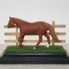 Golden Oak Three-Rail Fence with Breyer Stablemate Scale Model Horse
