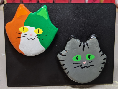 Flat Cat Head Magnet 015 019 - Martha Bechtel - Front Black