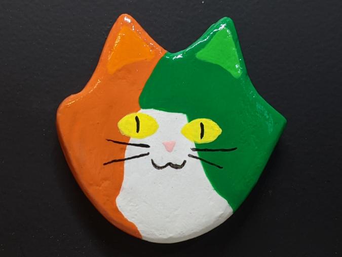 Flat Cat Head Magnet 015 - Martha Bechtel - Front Black
