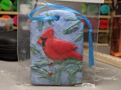 Cardinal Christmas Ornament 002 - Martha Bechtel - Front Bag White