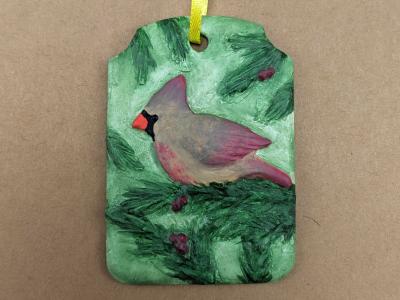 Cardinal Christmas Ornament 005 - Martha Bechtel - Front Tan