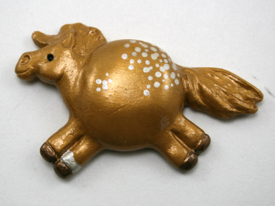 Fat Pony Magnet 024 - Gold Appaloosa - Martha Bechtel - Front white