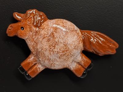 Fat Pony Magnet 128 - Red Roan - Martha Bechtel - front black