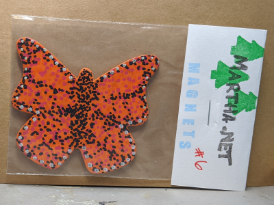 Wooden Butterfly Magnet 006 - Orange - Martha Bechtel - Front Bag