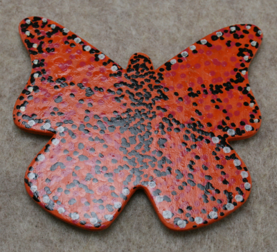 Wooden Butterfly Magnet 006 - Orange - Martha Bechtel - Glare