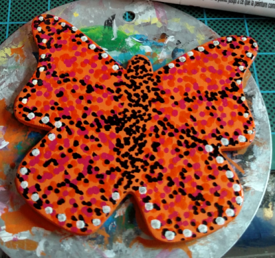 Wooden Butterfly Magnet 006 - Orange - Martha Bechtel - Orange Dots