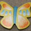 Wooden Butterfly Magnet 008 - Yellow - Martha Bechtel - Front
