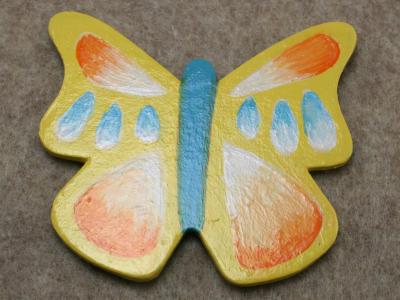 Wooden Butterfly Magnet 008 - Yellow - Martha Bechtel - Front