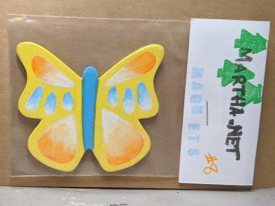 Wooden Butterfly Magnet 008 - Yellow - Martha Bechtel - Front Bag