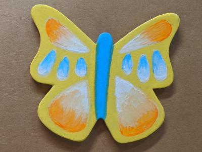 Wooden Butterfly Magnet 008 - Yellow - Martha Bechtel - Front Brown