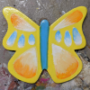 Wooden Butterfly Magnet 008 - Yellow - Martha Bechtel - Front Desk